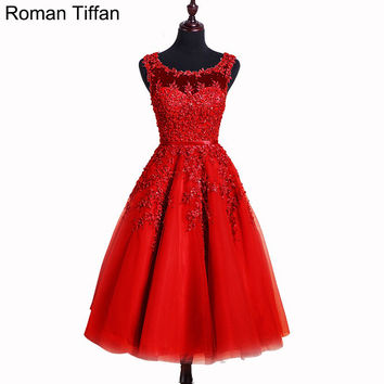 Short Prom Dresses  Roman Tiffan Real Photos Vestidos A-line Sleeveless Appliques Beaded Graduation Cocktail Party Gowns
