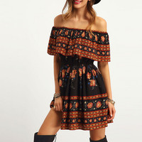 Off Shoulder Boho Print Dress 10020