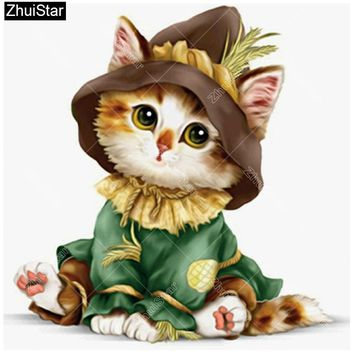 5D Diamond Painting Scarecrow Kitten Kit