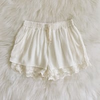 Natalya Lace Hem Woven Shorts (Soft White)