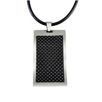 Men's necklaces-Tungsten pendants wavy dog tag
