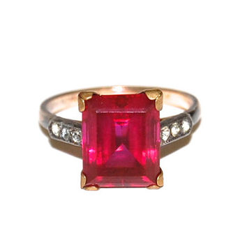 Art Deco 14k Gold Ruby Ring, 1930's Vintage Ring