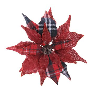 "9.5"" Artificial Scarlet Red and Black Plaid Decorative Poinsettia Clip-On Christmas Ornament"