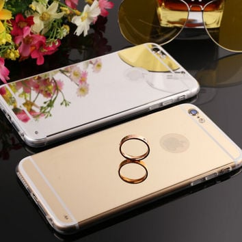 Mirror iPhone 5S 6S 6 Plus Case Samsung Galaxy S6 Protect Cover-123 + Gift Box