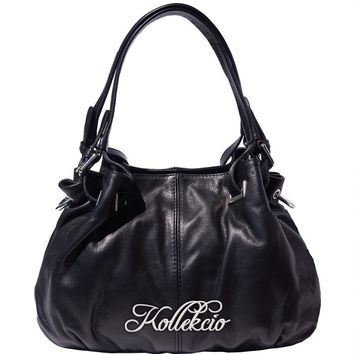 Italian Calf Skin Black Genuine Leather Shoulder Bag