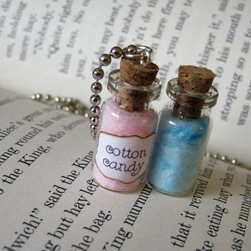 Cotton Candy 1ml Glass Bottle / Glass Vial Pendant Necklace - Blue Pink Charm