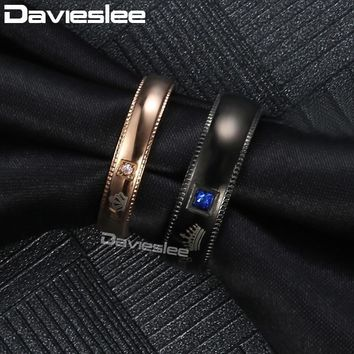 Cool Davieslee Coupless Ring Stainless Steel Engraved Queen King Paved Blue Clear CZ Black Rose Wedding Band Rings for Women DKRM39AT_93_12
