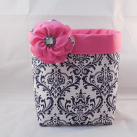 Navy Blue, Pink and White Fabric Basket With Detachable Fabric Flower Pin For Storage Or Gift Giving