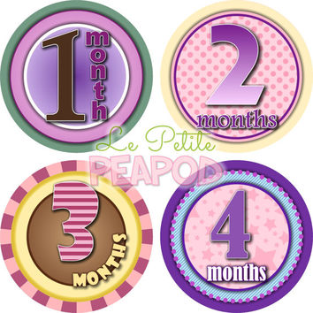 Monthy Baby Shirt Stickers - Purple Yellow Brown and Turquoise Macie Design - Girl Monthly Baby Stickers