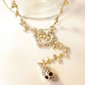 Silver Pyrite Fancy Wire Wrapped Lariat Style Necklace with Silver Milagro Heart and Sugar Skull