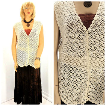Vintage long crocheted boho vest plus size, crocheted cotton / ramie festival bohemian vest 2X, Long hippie cotton vest, SunnyBohoVintage