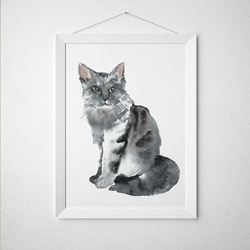 Cat watercolor print Animal poster Cute nursery art ACW95