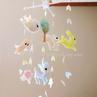 """Baby Crib Mobile - Baby Mobile - Long Decorate Neutral Mobile - """"Running Rabbit in the falling leaves"""" (Pick your color)"""