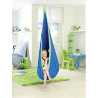 La Siesta Joki Hanging Crows Nest Soft Fabric Hammock Swing - Holds 175 pounds - 27 x 59 in - Blue