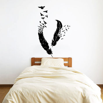 Wall Decal Vinyl Sticker Decals Art Home Decor Design Mural Feather Birds Nib Style Feather Peacock Living Room Modern Fashion Bedroom AN213