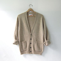 70s Cardigan Sweater. Oatmeal Knit Cardigan. Wool Sweater