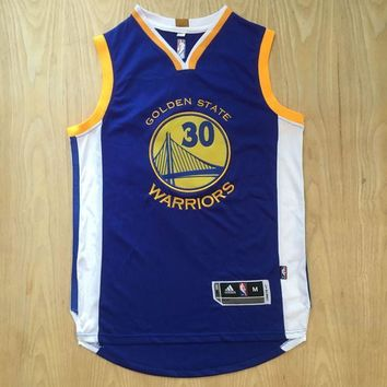 KUYOU Golden State Warriors Stephen Curry Blue 100% Authentic Jersey