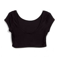 PERFECT BASIC CROP TEE- BLACK - WOMEN'S