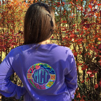 Monogram Class Shirt with Lilly Pulitzer fabric applique