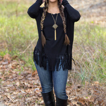 The Perfect Piko Fringe Top-Black