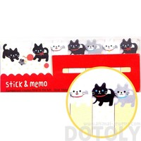 Black and White Kitty Cat Shaped Animal Memo Pad Post-it Index Sticky Tab Bookmarks