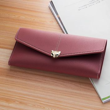 2017 New Fashion Metal Long Clutch Women Wallet Solid PU Leather Ladies Card Hold Cash Purse Female Trifold Wallets Black  Red