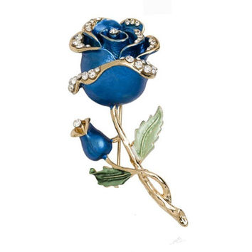 Crystal Rose Flower Rhinestone Pin Brooch