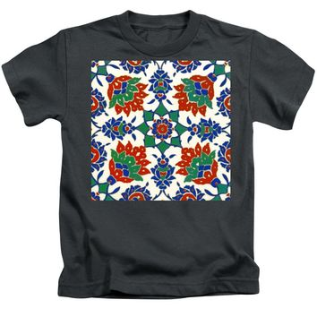 An Ottoman Iznik Style Floral Design Pottery Polychrome, By Adam Asar, No 13d - Kids T-Shirt