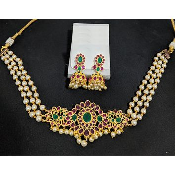 Triple stranded pearl bead chain - One gram gold Chick collar style choker necklace and Jhumka earring set - Kemp and CZ stone