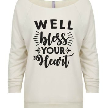 Well Bless Your Heart 3/4 Sleeve Raw Edge French Terry Cut - Dolman Style Very Trendy
