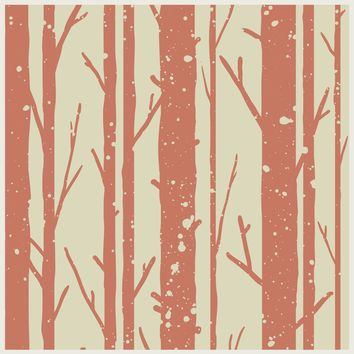 Autumn Trees Wallpaper Seamless Pattern