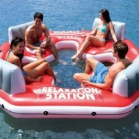 INTEX Pacific Paradise Relaxation Station Water Lounge 4-Person River Tube Raft: Sports & Outdoors