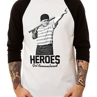 The Heroes and Legends Raglan in Black and White (Black Sleeves)