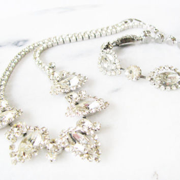 Weiss Rhinestone  Necklace Bracelet  Vintage Set  Demi Parure  Holiday Jewelry  Clear Stone  Gift for Her  Christmas Present