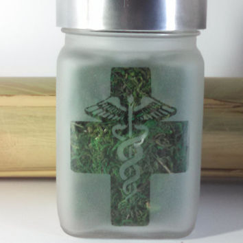 Medical Marijuana Etched Glass Personal Stash Jar with Cross- Free UPGRADE to Priority Mail within the US