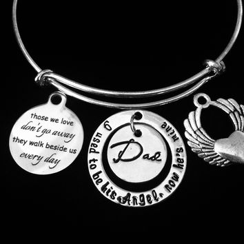Those We Love Memorial Jewelry Dad I Used To Be His Angel Now He Is Mine Expandable Charm Bracelet Adjustable Wire Bangle Loss Loved One Gift