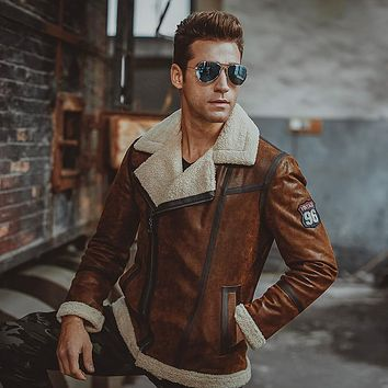 Men's real leather jacket Faux fur motorcycle Genuine Leather bomber jackets coat