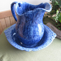 Haeger Pitcher and Bowl in Blue speckle. It is marked 4060 Royal Haeger. 1980s