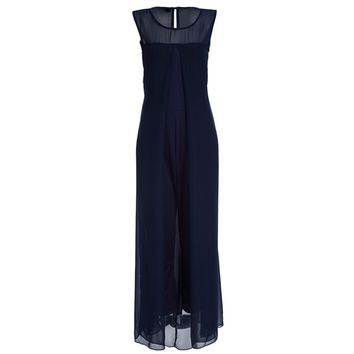 Fashionable Round Collar Sleeveless Chiffon Patchwork Faux Twinset Solid Color Jumpsuit for Women