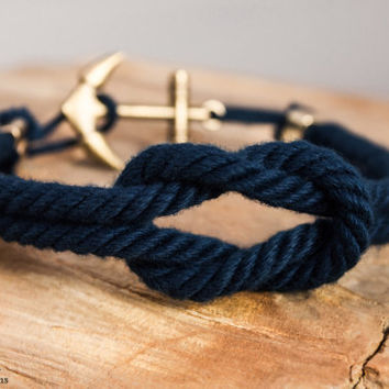 Reef knot nautical rope bracelet - Navy
