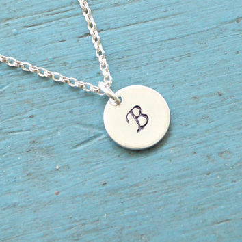Hand stamped Jewelry Monogram Necklace Tiny Silver Initial Necklace 9 mm Sterling Silver Disc 20 gauge
