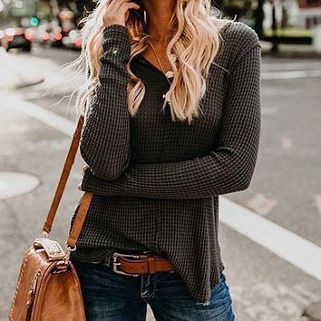 Tight V Neck Low High Pullover Sweater