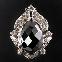 3cts Pear Shape Black Diamond Ring with Rose Cut diamond Accents-14 K Gold