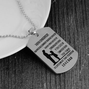 Sale Mother Father Stainless Steel Dog Tag Son Gifts Daughter Family Choker Pendants Necklace Love Best Friend Chic New Simple