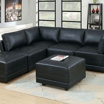 Poundex F801 6 pc Clayton II collection black bonded leather upholstered modular sectional sofa