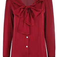 Chic Tie Collar Bowknot Solid Blouse
