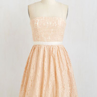 Pastel Short Length Strapless Fit & Flare Peach-ure Presentation Dress by ModCloth