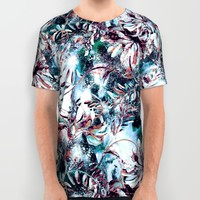 Abstract Splashed Floral All Over Print Shirt by RIZA PEKER