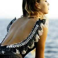 "Amazing backless body ""Pearly Celebration"" with black&white lace, pearls and black bow"