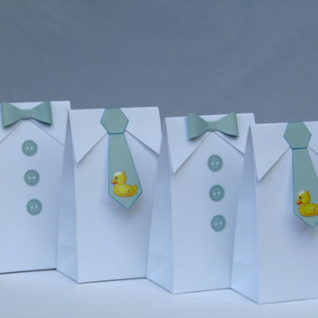 Little Man Rubber Duck Bow Tie - Tie Favor Bag-Baby Shower Candy Bag - Baby Shower Party Favor Bag- Boy First Birthday Party Bag - Set of 12